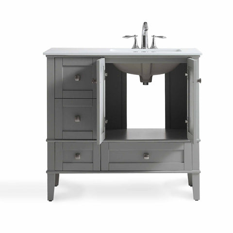 Right Offset Smoke Grey | 36 inch Chelsea Bath Vanity with White Quartz Marble Top