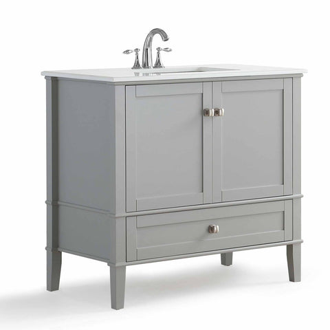 Center Smoke Grey | 36 inch Chelsea Bath Vanity with White Quartz Marble Top