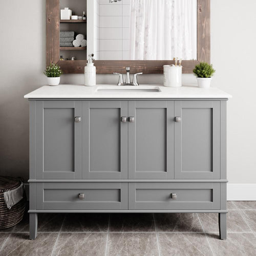 Smoke Grey | Chelsea 48 inch Bath Vanity with White Engineered Quartz Marble Top