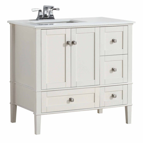 Right Offset Pure White | 36 inch Chelsea Bath Vanity with White Quartz Marble Top