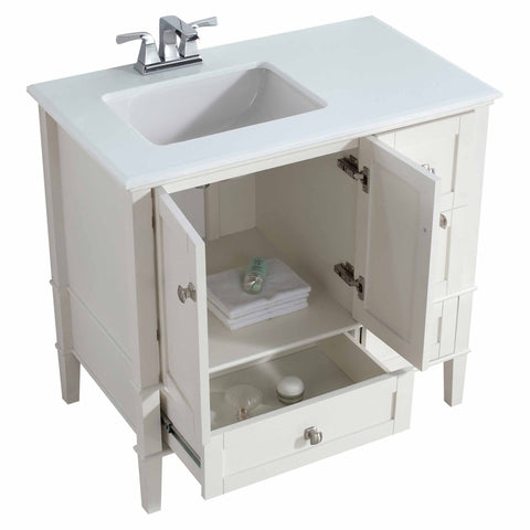 Left Offset Pure White | 36 inch Chelsea Bath Vanity with White Quartz Marble Top