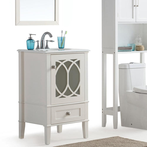 Pure White | Paige 20 inch Bath Vanity with White Engineered Quartz Marble Top