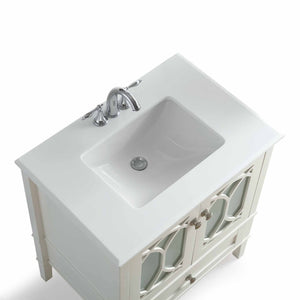 Pure White | Paige 30 inch Bath Vanity with White Engineered Quartz Marble Top