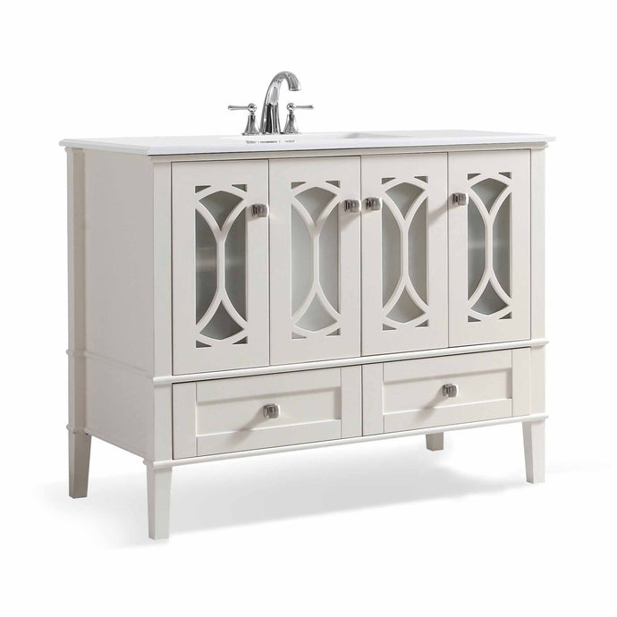 Pure White | Paige 42 inch Bath Vanity with White Engineered Quartz Marble Top