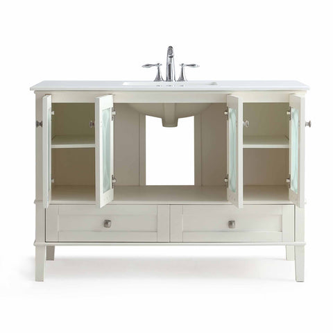 Pure White | Paige 48 inch Bath Vanity with White Engineered Quartz Marble Top