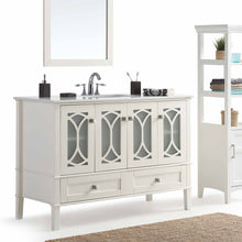 Load image into Gallery viewer, Pure White | Paige 48 inch Bath Vanity with White Engineered Quartz Marble Top