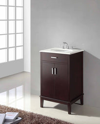 "Tobacco Brown | Urban Loft 20"" Bath Vanity with Quartz Marble Top"