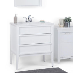 White | Russo 30 inch Bath Vanity with White Veined Engineered Marble Top