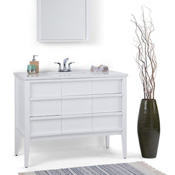 White | Russo 42 inch Bath Vanity with White Veined Engineered Marble Top