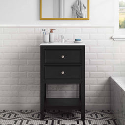 "Midnight Black | Wilmington 20"" Bath Vanity with White Quartz Marble Top"