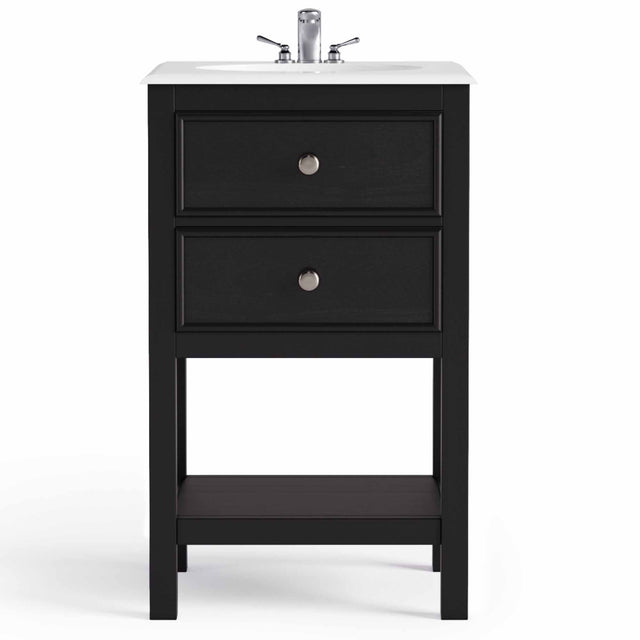 "Load image into Gallery viewer, Midnight Black | Wilmington 20"" Bath Vanity with White Quartz Marble Top"