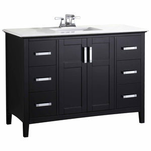 "Midnight Black | Winston 48"" Bath Vanity with White Quartz Marble Top"