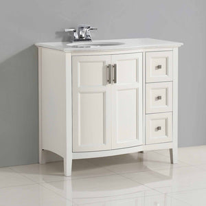 Pure White | Winston 36 inch Rounded Front Bath Vanity with Bombay White Engineered Quartz Marble Top