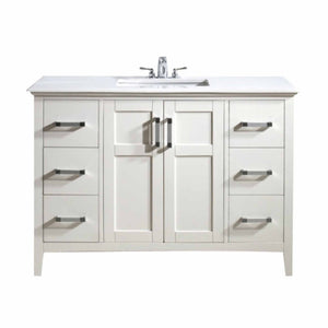 "Pure White | Winston 48"" Bath Vanity with White Quartz Marble Top"