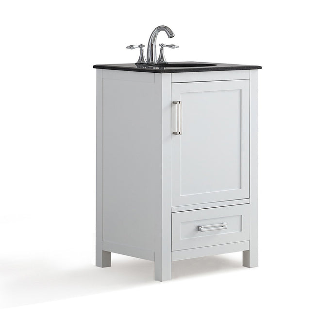 Soft White | Evan 20 inch Bath Vanity with Black Granite Top