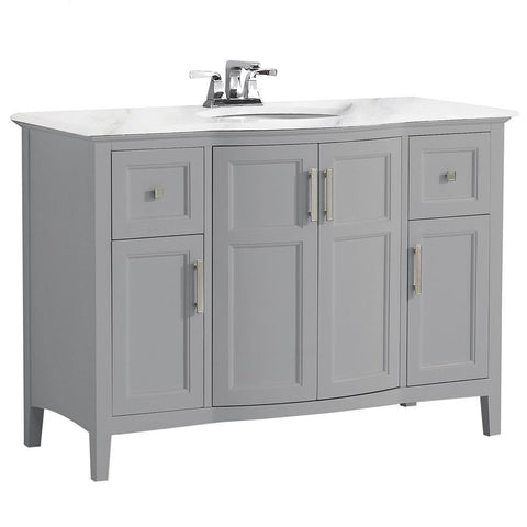 Warm Grey | Winston 48 inch Rounded Front Bath Vanity with Bombay White Engineered Quartz Marble Top