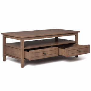 Rustic Natural Aged Brown | Warm Shaker 48 inch Coffee Table