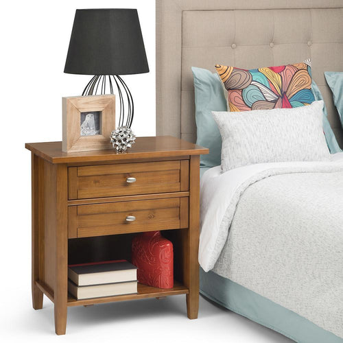 Light Golden Brown | Warm Shaker Bedside Table