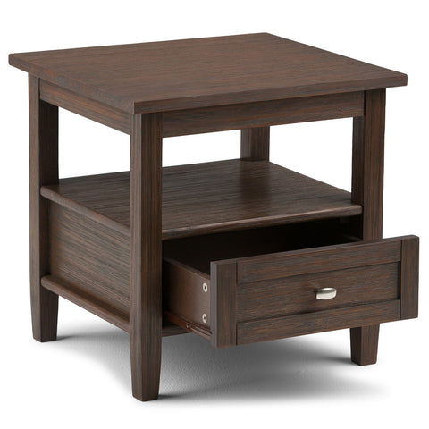 Farmhouse Brown | Warm Shaker 20 inch End Side Table