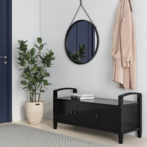Black | Warm Shaker 44 inch Entryway Bench