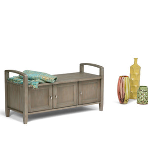 Distressed Grey | Warm Shaker 44 inch Entryway Bench