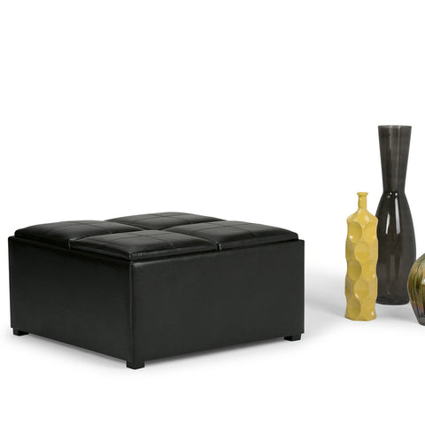 Midnight Black PU Faux Leather | Avalon Faux Leather Square Coffee Table Storage Ottoman