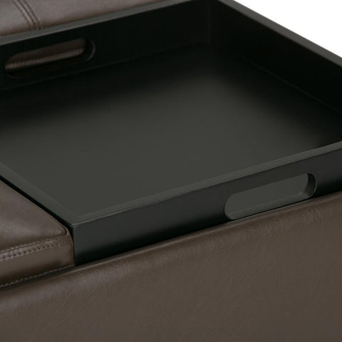 Chocolate Brown PU Faux Leather | Avalon Faux Leather Square Coffee Table Storage Ottoman