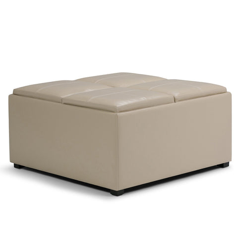 Satin Cream PU Faux Leather | Avalon Faux Leather Square Coffee Table Storage Ottoman