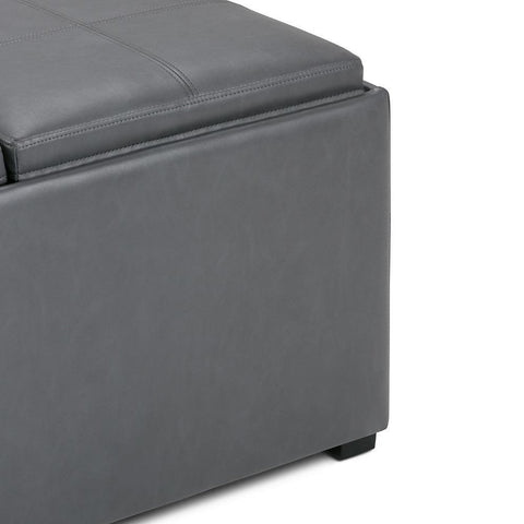 Stone Grey Linen Look Polyester Fabric | Avalon Faux Leather Square Coffee Table Storage Ottoman