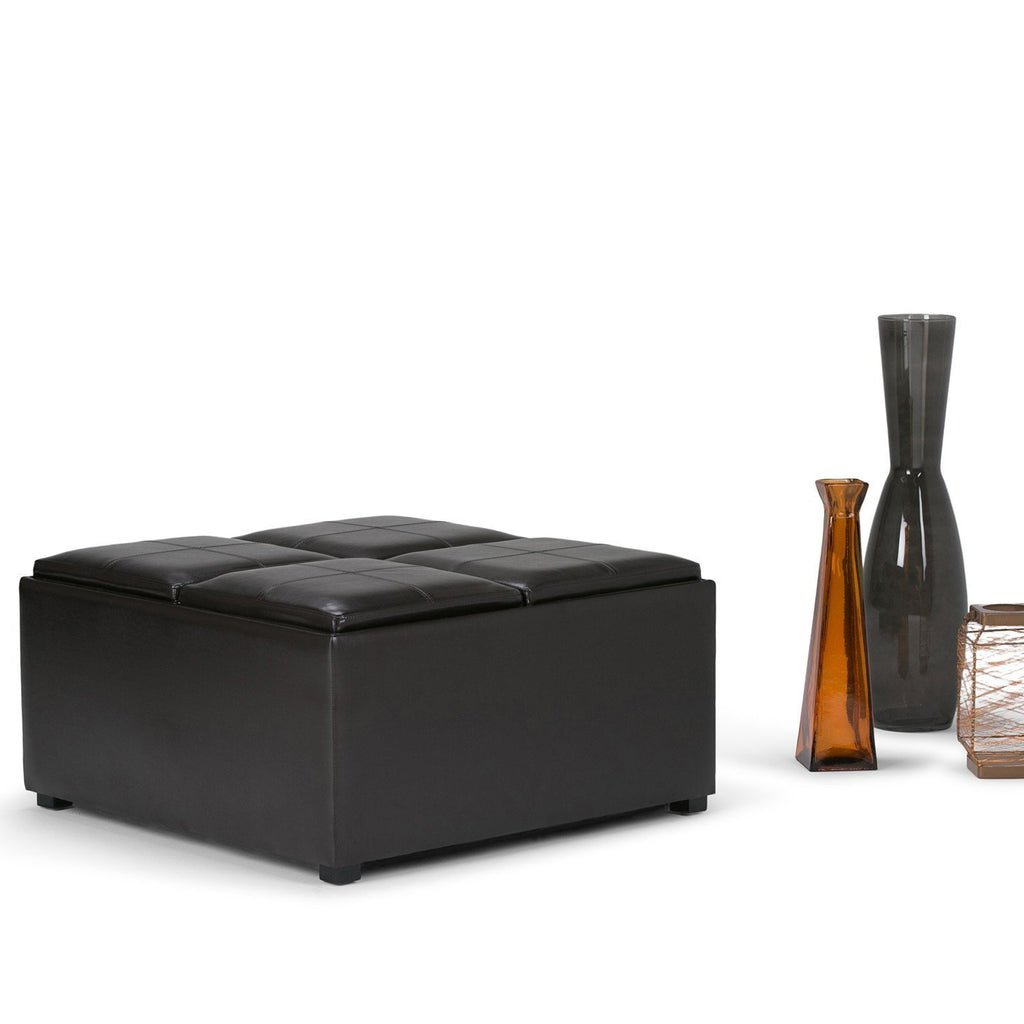 Superb Avalon Coffee Table Storage Ottoman With 4 Serving Trays Dailytribune Chair Design For Home Dailytribuneorg