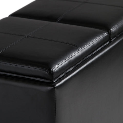 Midnight Black PU Faux Leather | Avalon Faux Leather 5 piece Storage Ottoman