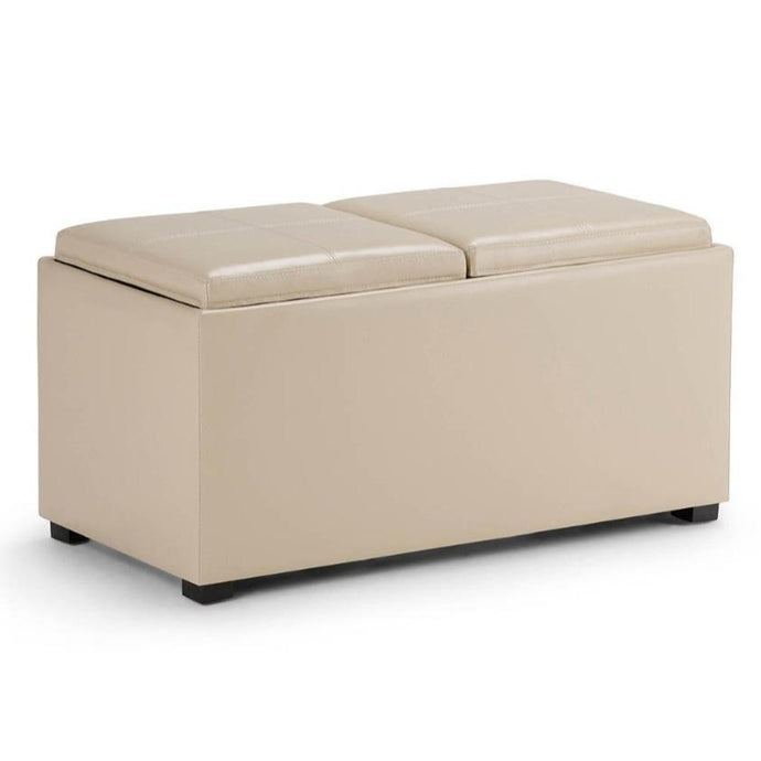 Satin Cream PU Faux Leather | Avalon Faux Leather 5 piece Storage Ottoman