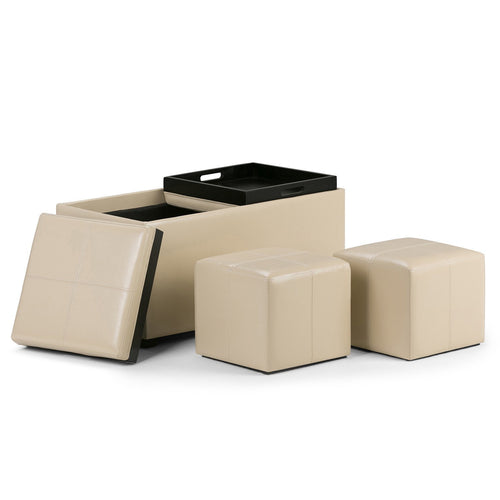 Satin Cream Faux Leather | Avalon Faux Leather 5 piece Storage Ottoman