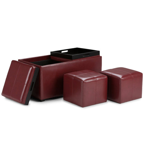 Radicchio Red PU Faux Leather | Avalon Faux Leather 5 piece Storage Ottoman