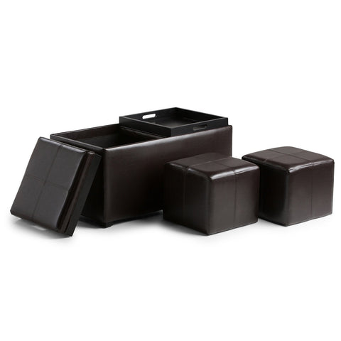 Tanners Brown PU Faux Leather | Avalon Faux Leather 5 piece Storage Ottoman