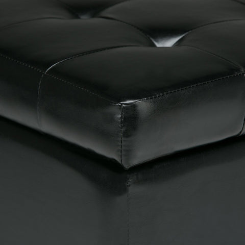 Midnight Black | Cosmopolitan Faux Leather Storage Ottoman