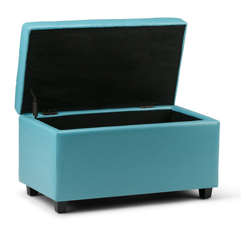Soft Blue | Cosmopolitan Faux Leather Storage Ottoman