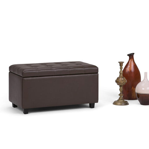 Chocolate Brown | Cosmopolitan Faux Leather Storage Ottoman