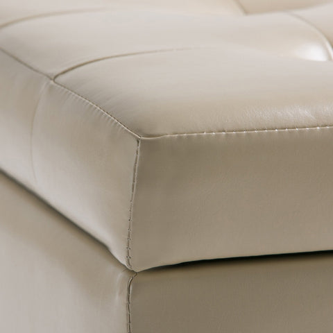 Satin Cream | Cosmopolitan Faux Leather Storage Ottoman