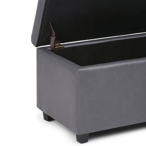 Stone Grey | Cosmopolitan Faux Leather Storage Ottoman
