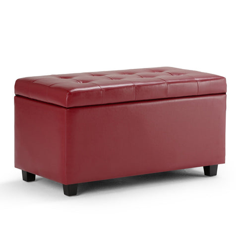 Red | Cosmopolitan Faux Leather Storage Ottoman