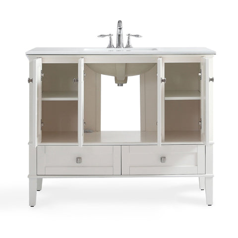 Soft White | Chelsea 42 inch Bath Vanity with White Quartz Marble Top