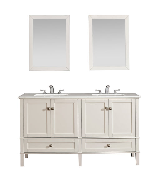 Chelsea 60 inch Bath Vanity in Soft White with White Engineered Quartz Marble Top
