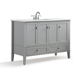 Warm Grey | Chelsea 48 inch Bath Vanity with White Quartz Marble Top