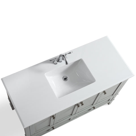 Grey | Chelsea 48 inch Bath Vanity with White Quartz Marble Top