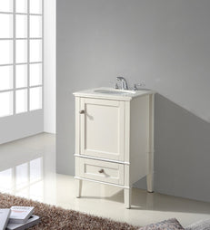 Chelsea 20 inch Bath Vanity in Soft White with Bombay White Engineered Quartz Marble Top