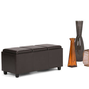 Avalon Faux Leather Storage Ottoman with Three Trays
