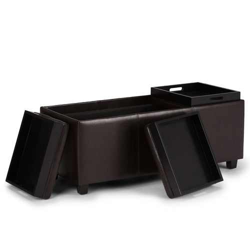Tanners Brown Faux Leather | Avalon Faux Leather Storage Ottoman with Three Trays