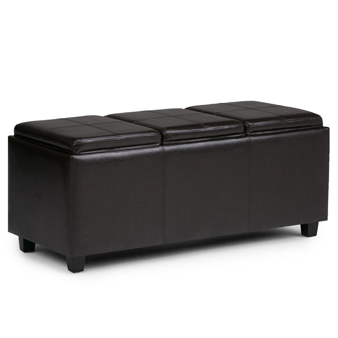 Tanners Brown PU Faux Leather | Avalon Faux Leather Storage Ottoman with Three Trays