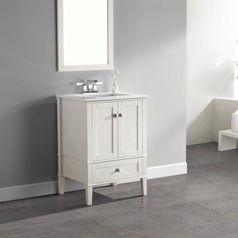 Soft White | Chelsea 24 inch Bath Vanity with White Quartz Marble Top